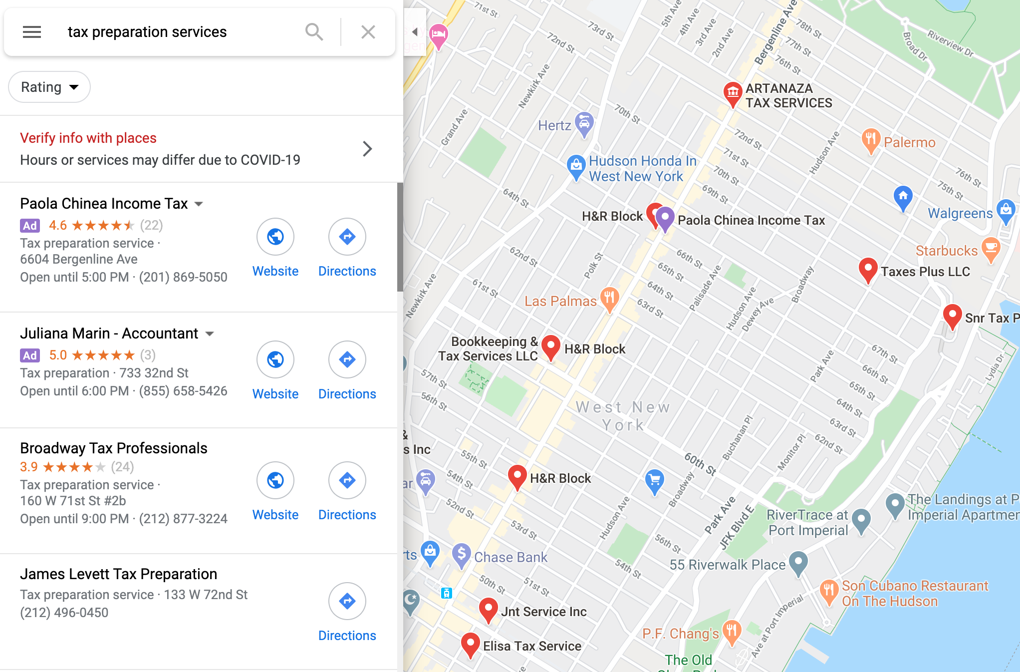 Tax Business In Google Map Search