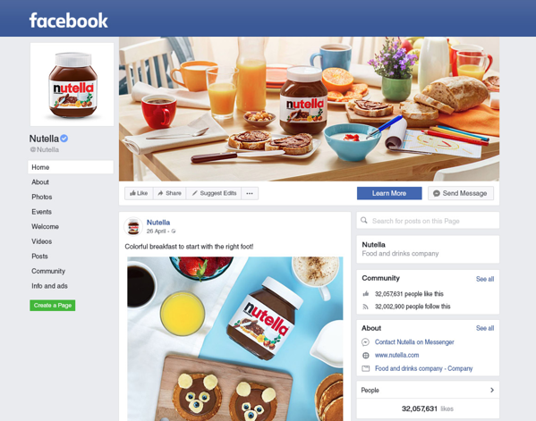 Facebook Business Page Example